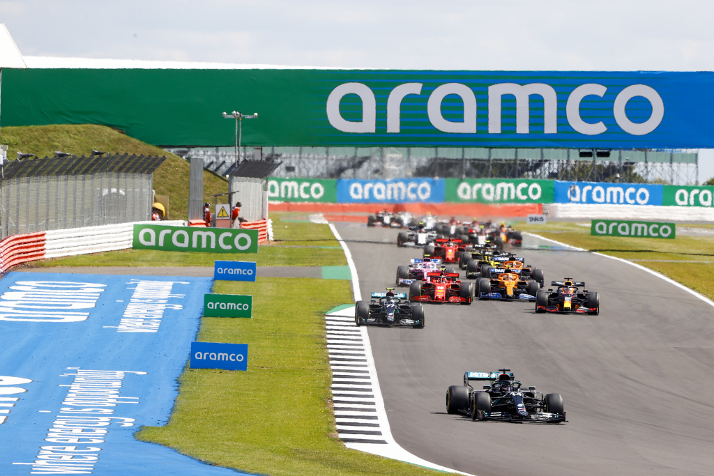 The 2020 Formula 1 cars on track at Silverstone.