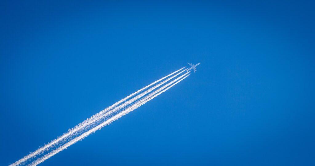 A plane in a blue sky