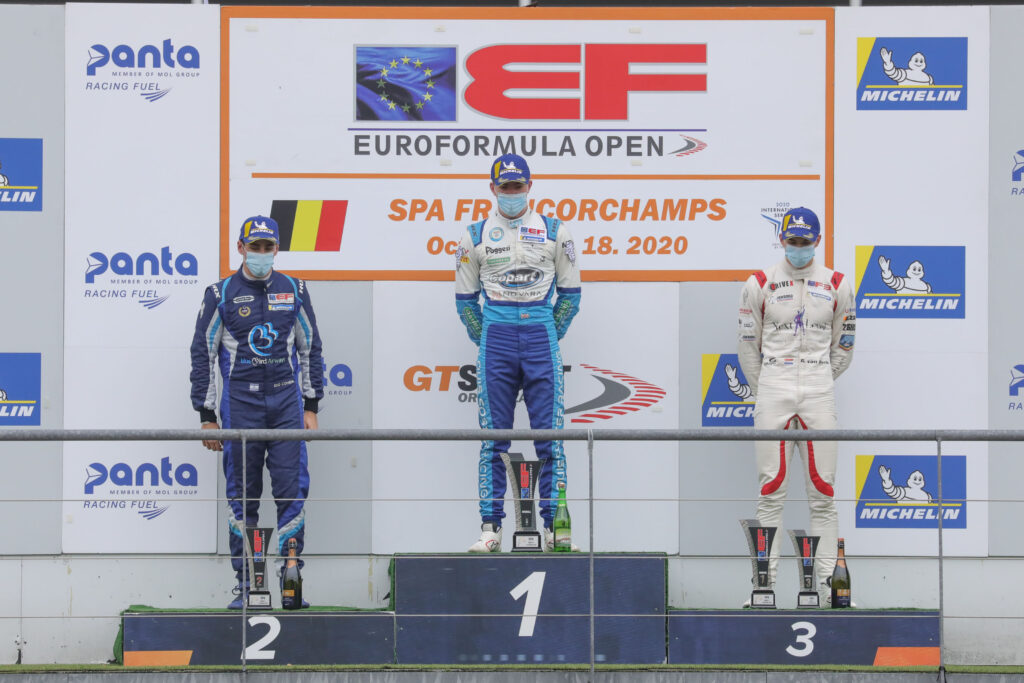 Louis Foster on the top step of the podium after winning at Spa