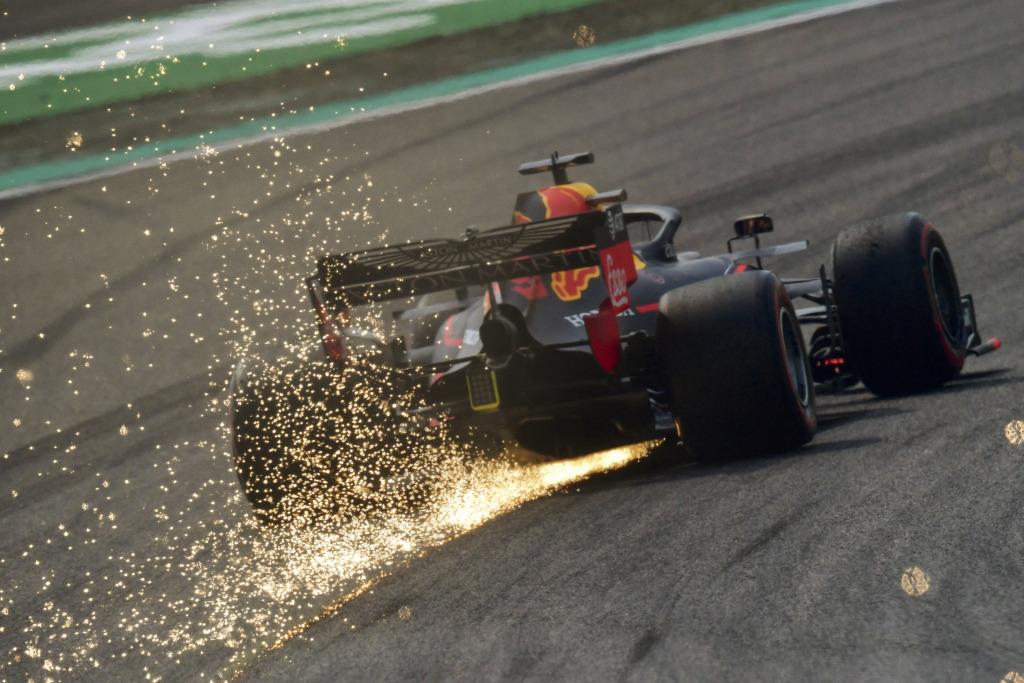 An F1 car sparking
