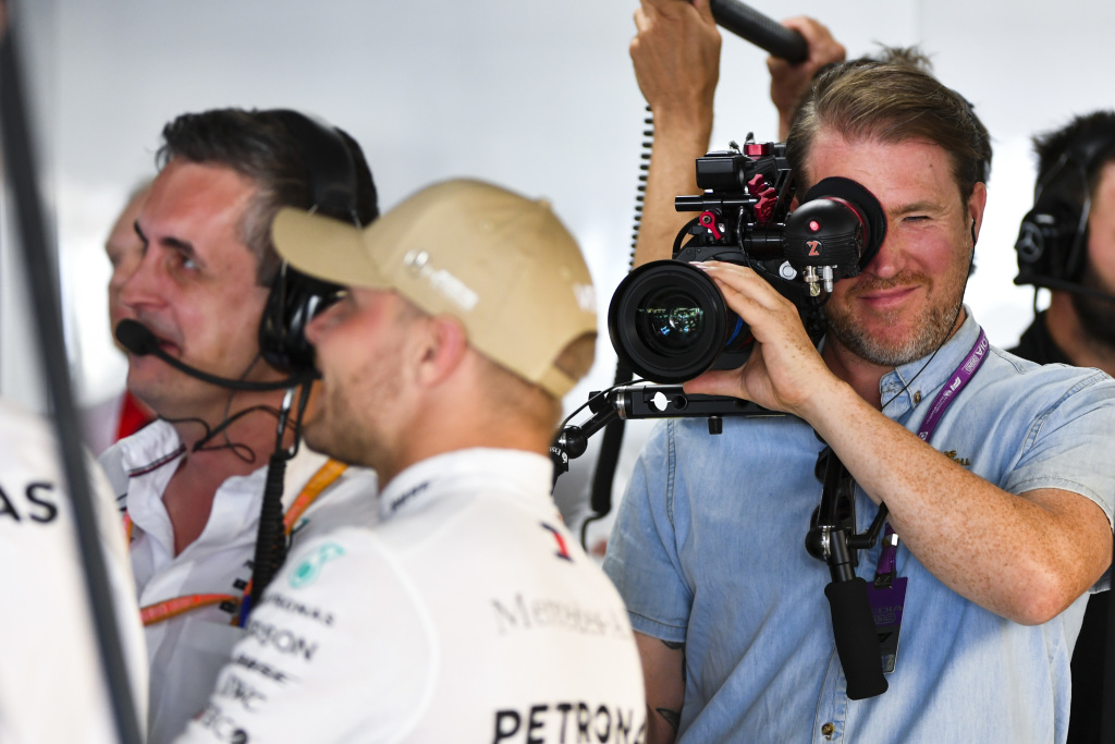 Valtteri Bottas being recorded for a racing movie series on Netflix