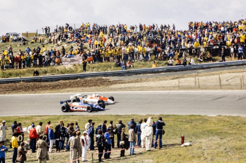 F1 drivers Derek Daly and Alain Prost drive in Zandvoort