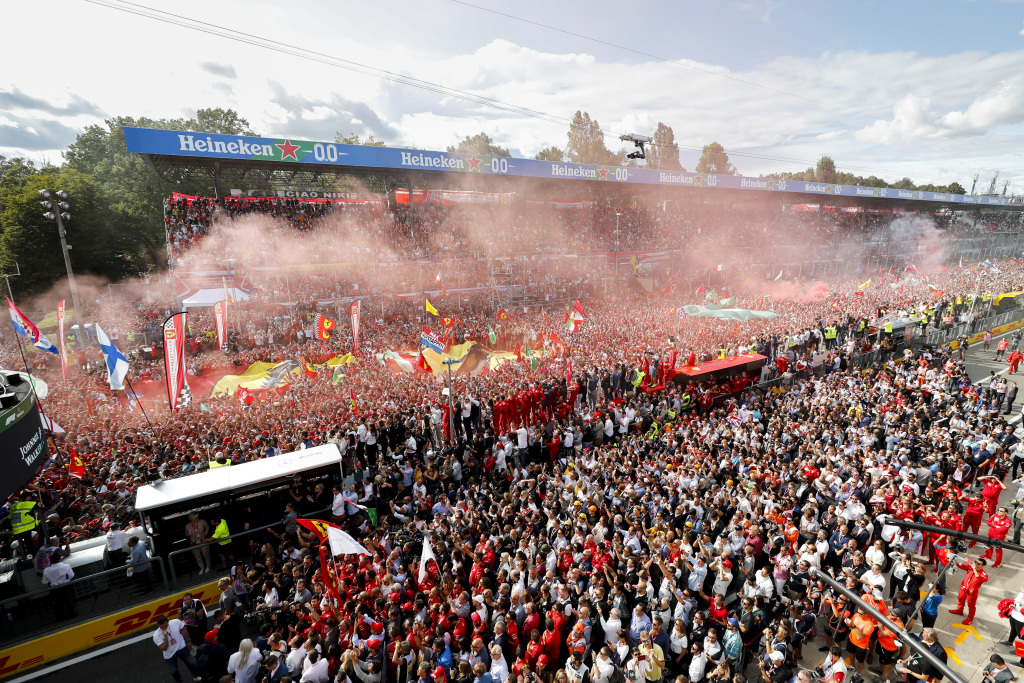 F1 fans celebrate on track at Monza in Italy