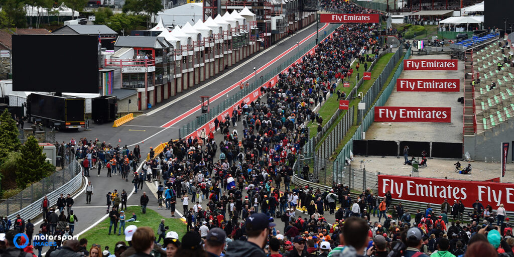 Fans on the circuit of Spa-Francorchamps after the F1 Belgian Grand Prix