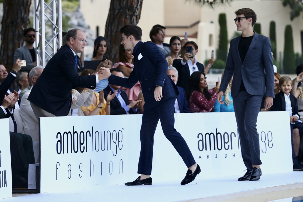 Charles Leclerc and George Russel during a fashion show at the Monaco Grand Prix