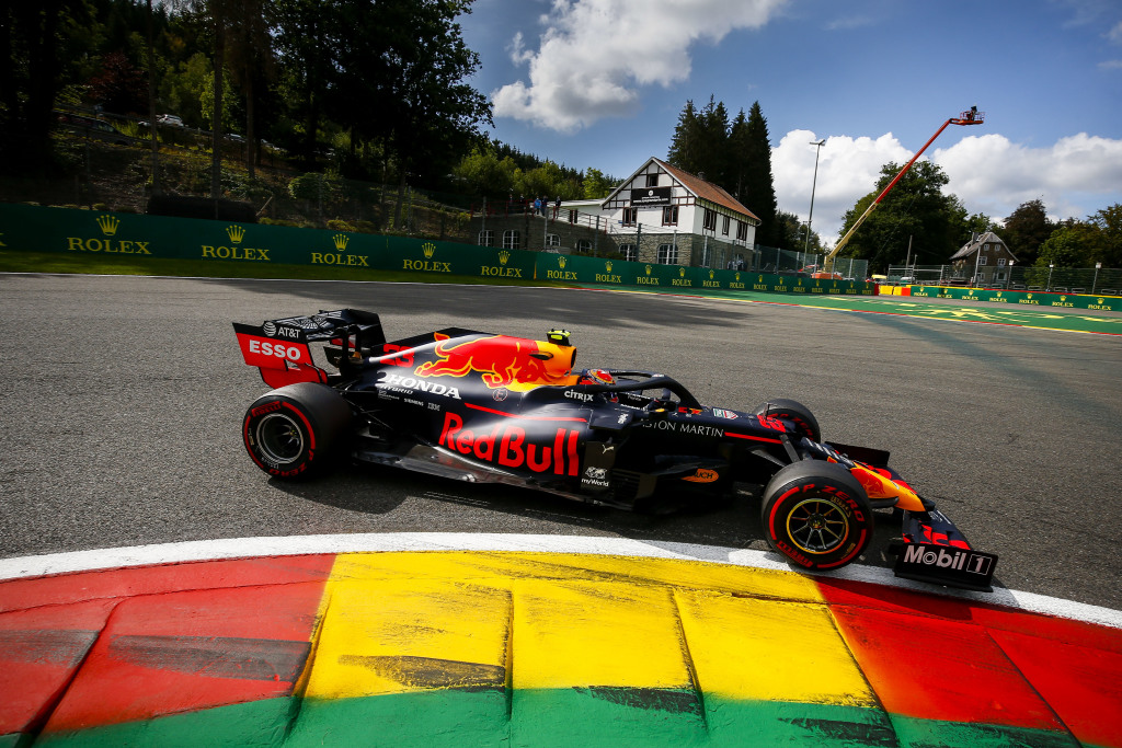 Max Verstappen racing his Formula 1 car during the Belgian Grand Prix