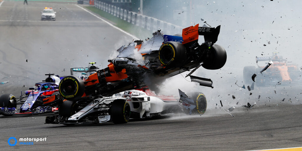 A Formula 1 car crashes in the air at the Belgian Grand Prix