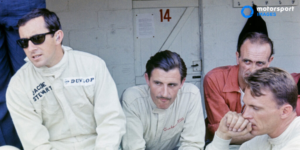 Three Formula 1 drivers including Jackie Stewart and Graham Hill
