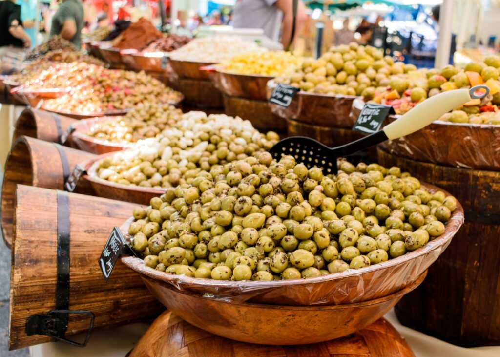 Olives for sale at a French marekt