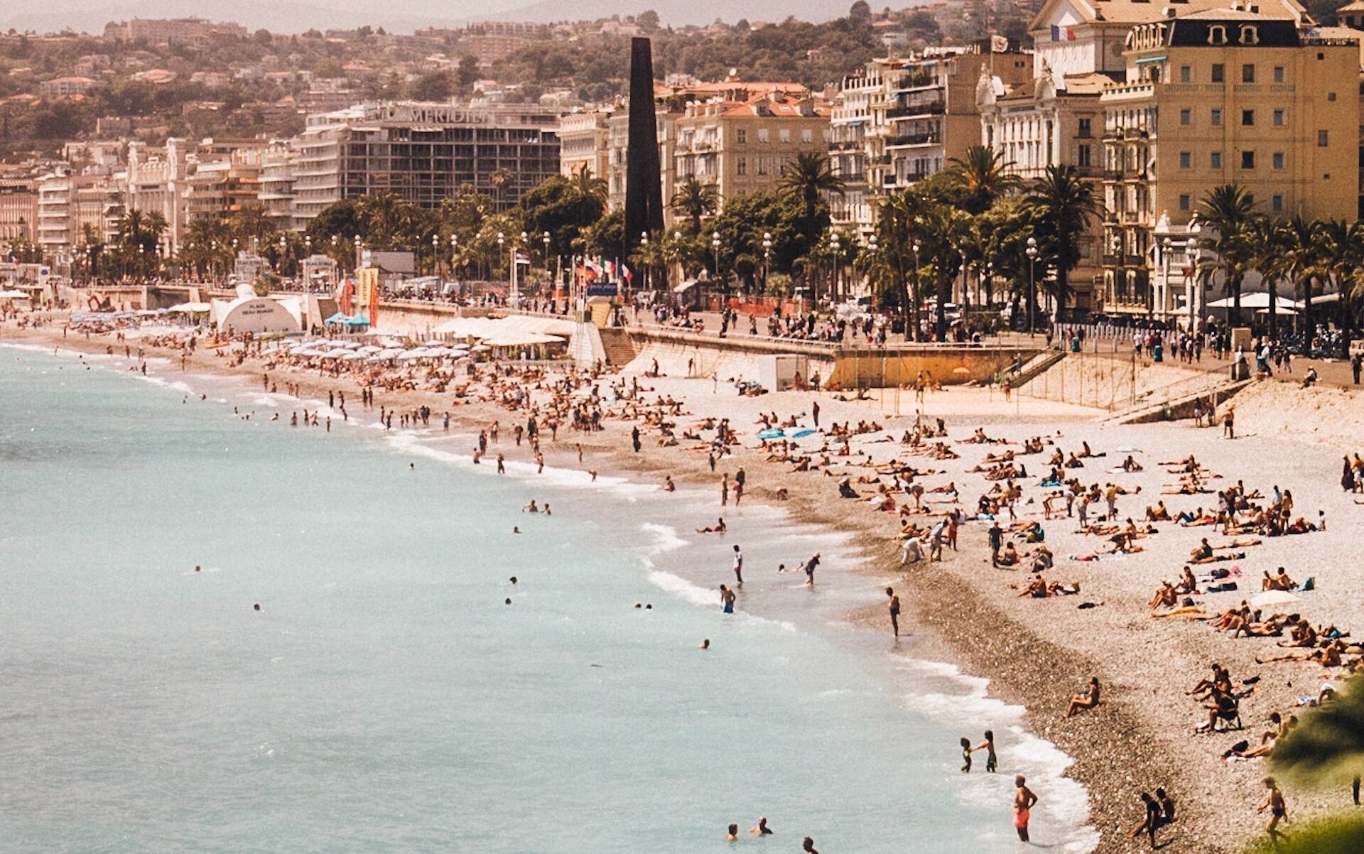 People on a beach in Nice