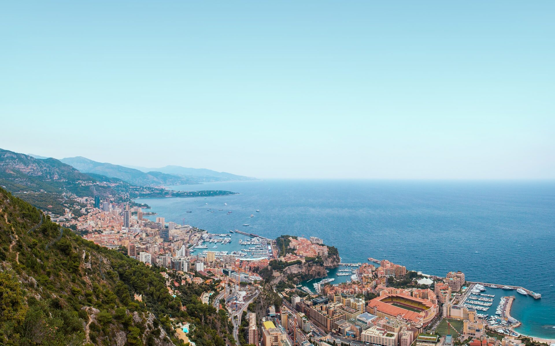 An aerial view of Monaco