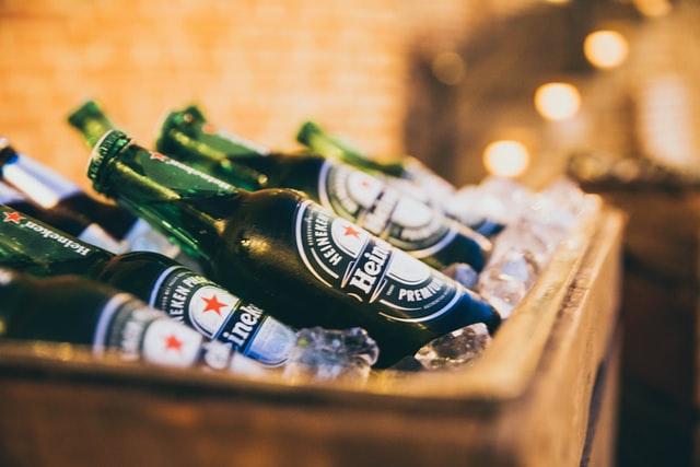 Cold bottles of Heineken beer