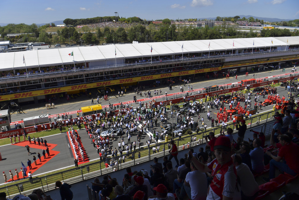 Cars on the grid before the Spanish Grand Prix