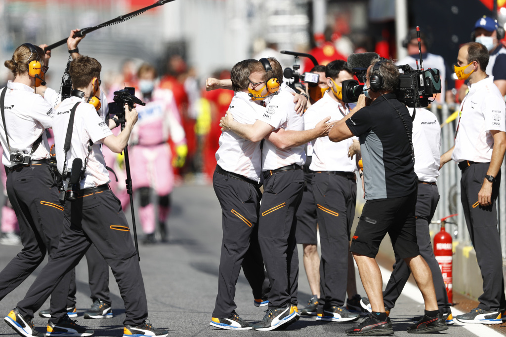 McLaren celebrating in front of Drive to Survive cameras