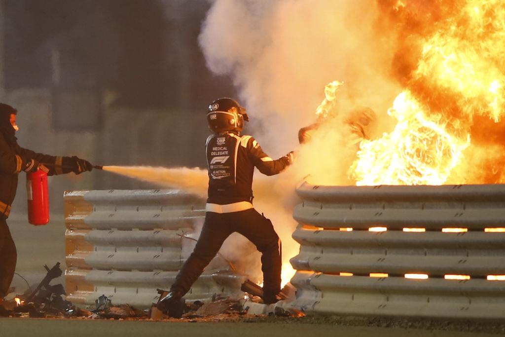 Romain Grosjean escaped from a fiery crash