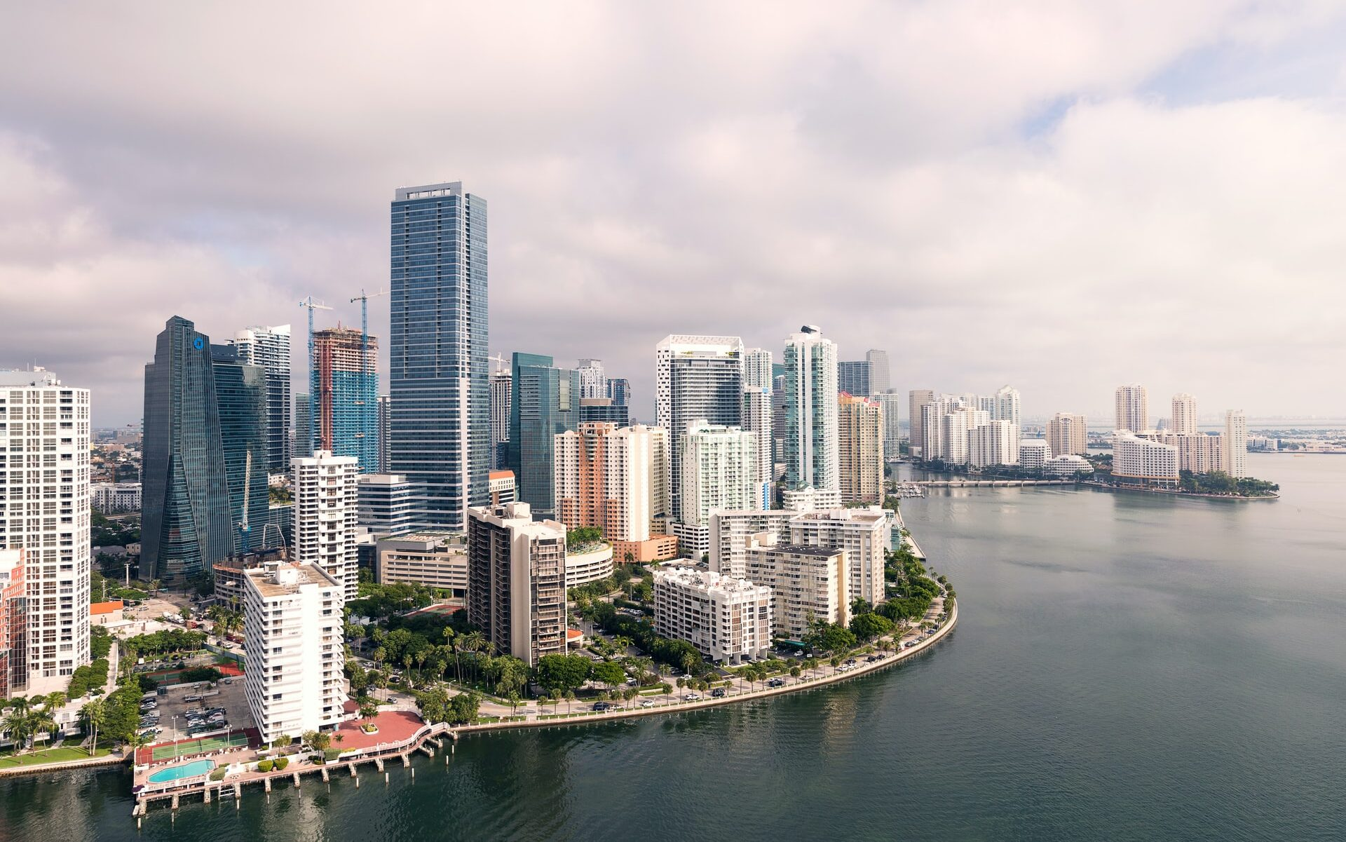 An aerial shot of Miami