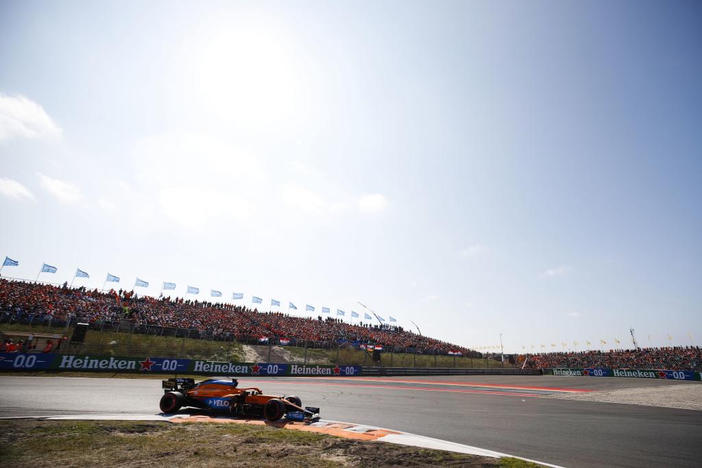 Fans in grandstands at Zandvoort for the Dutch Grand Prix